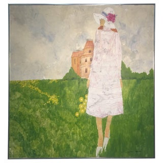 1970s Fashionable Woman in Field of Flowers Painting Signed For Sale
