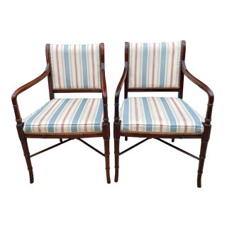 Hancock & Moore Sheridan Style Mahogany Accent Chairs - a Pair For Sale