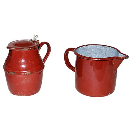 French Enamelware Creamer and Pichter - Image 1 of 5