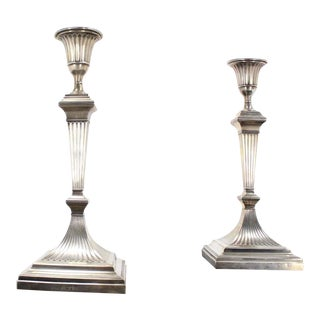 Square Base Art Deco Sterling Candle Holders - A Pair For Sale