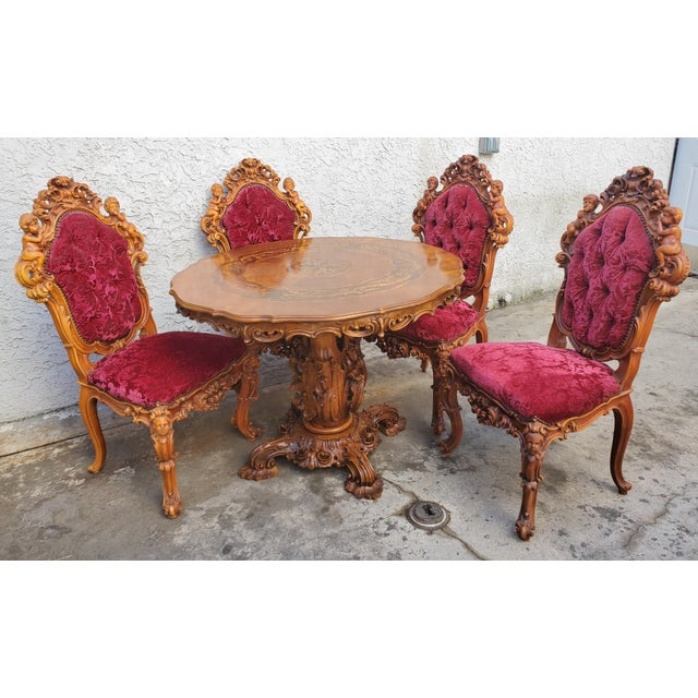 Antique Carved & Inlaid Rococo Revival Italian Round Dining Set-Set of 5 For Sale - Image 13 of 13