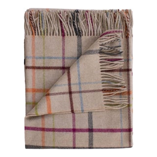 Merino Lambswool Patterned Throw in Oatmeal Plaid Multi For Sale