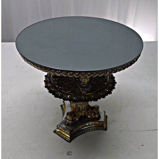 Gold Pewter Metal Cake Stand or Auxiliary Table For Sale In Miami - Image 6 of 8