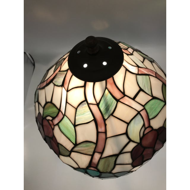 Metal Vintage Tiffany Style Stained Glass Table Lamp For Sale - Image 7 of 10