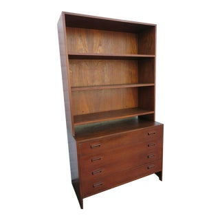Danish Modern Mid Century Two Piece Bookcase Display Cabinet Cupboard For Sale