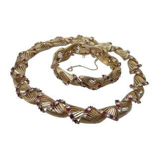 Marcel Boucher Crystal Wreath Necklace & Bracelet Set Ca 1960 For Sale