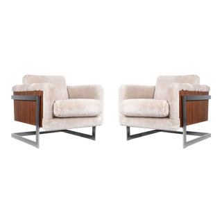 Pair of Milo Baughman T-Back Cube Lounge Chairs For Sale