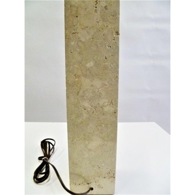 1950s Robsjohn-Gibbings Style Mid-Century Travertine Marble Table Lamp For Sale - Image 5 of 12
