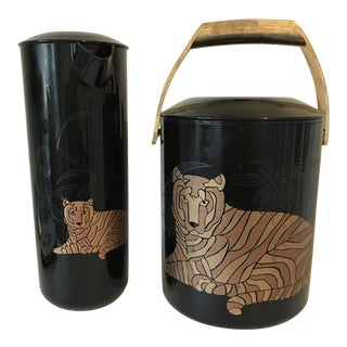 Mid-Century Modern Culver Tiger Ice Bucket and Pitcher - Set of 2 For Sale
