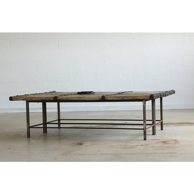 Low Antique Chinese Gate Doors Coffee Table on Custom-Made Welded Metal Base For Sale - Image 10 of 10
