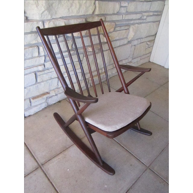 Wood Frank Reenskaug for Bramin Mobler Rosewood Danish Rocking Chairs For Sale - Image 7 of 8