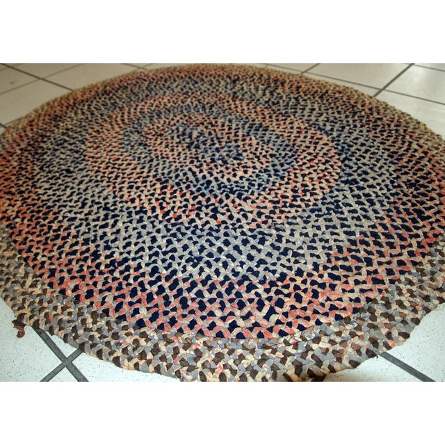 1920s handmade antique American braided rug 2.5' x 2.9' For Sale - Image 4 of 10