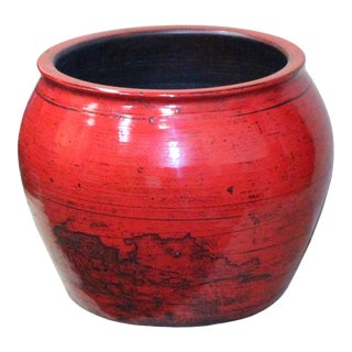 Chinese Ceramic Distressed Red Glazed Round Planter Pot For Sale