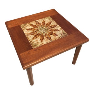 Mid Century Modern Danish Teak and Tile Side Table For Sale