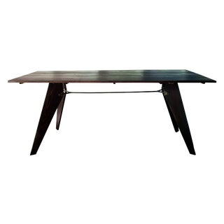 Mid-Century Prouve Style Black Dining Utility Table For Sale