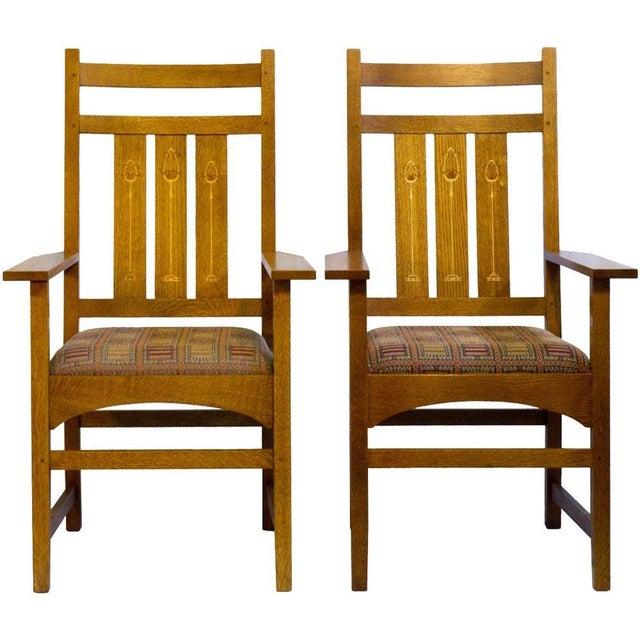 Stickley Harvey Ellis Oak Art & Crafts Chairs - Pair - Image 1 of 9