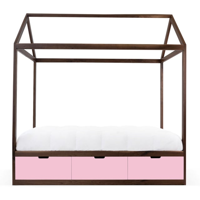 Contemporary Domo Zen Twin Canopy Bed in Walnut With Pink Finish Drawers For Sale - Image 3 of 6