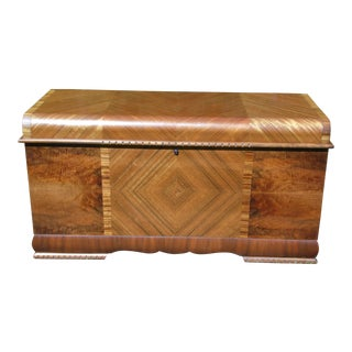 Antique Lane Art Deco Waterfall Cedar Trunk Hope Chest For Sale