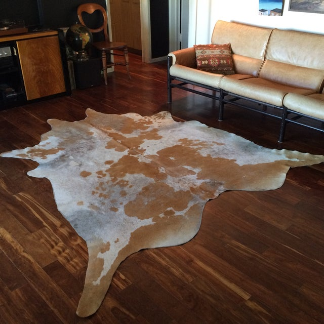 """Distressed Cowhide Rug - 6' X 6'11"""" - Image 3 of 11"""