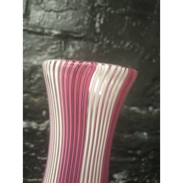 Tall Mezza Filigrana Hot Pink and White Striped Murano Vase Attributed to Aureliano Toso For Sale - Image 10 of 13