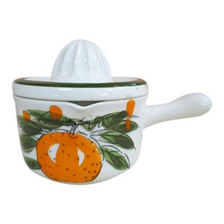 Vintage 1960s Mid-Century Modern Hand Painted Japan Ceramic Juicer and Pot For Sale