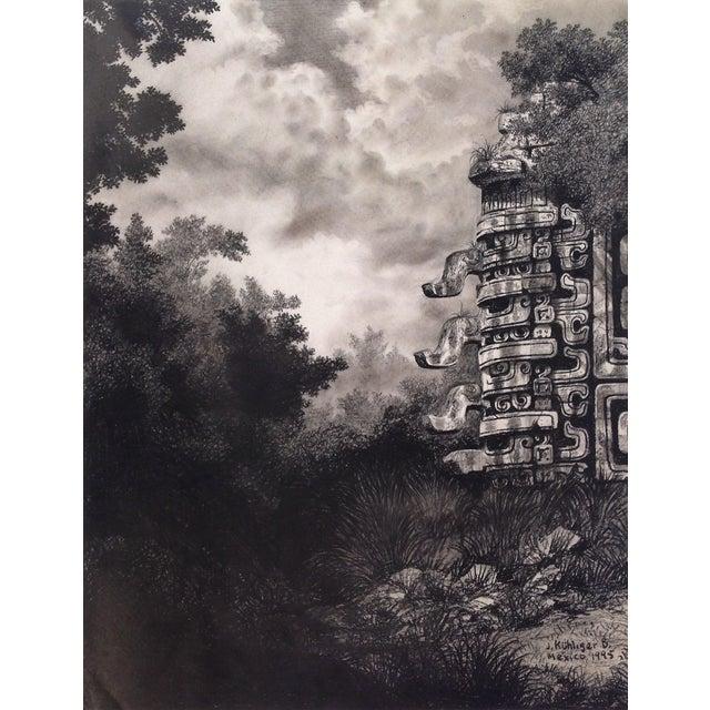 "Late 20th Century Illustration of Mayan Ruins, ""Habitat Maya No.6"" For Sale - Image 5 of 5"