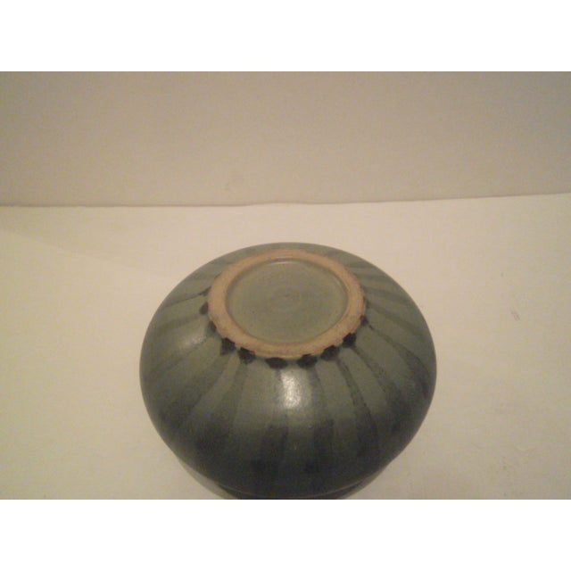 Green Striped Art Pottery Pot - Image 5 of 7