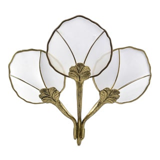 Hollywood Regency Extra Large Brass and Mesh Water Lily Wall Sconce For Sale