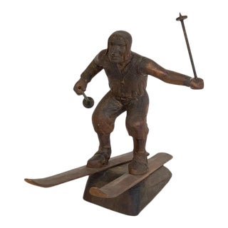 Early 20th Century Carved Wooden Statue of a Skier For Sale
