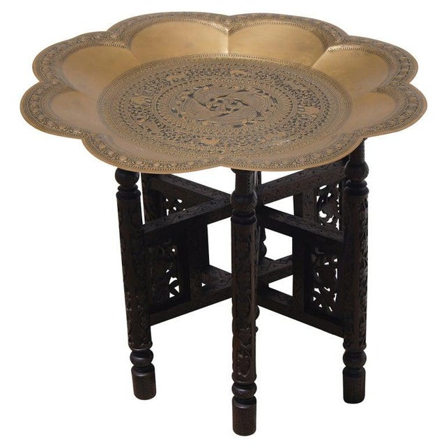 Traditional Styled Moroccan Wood and Brass Side Table For Sale - Image 4 of 4