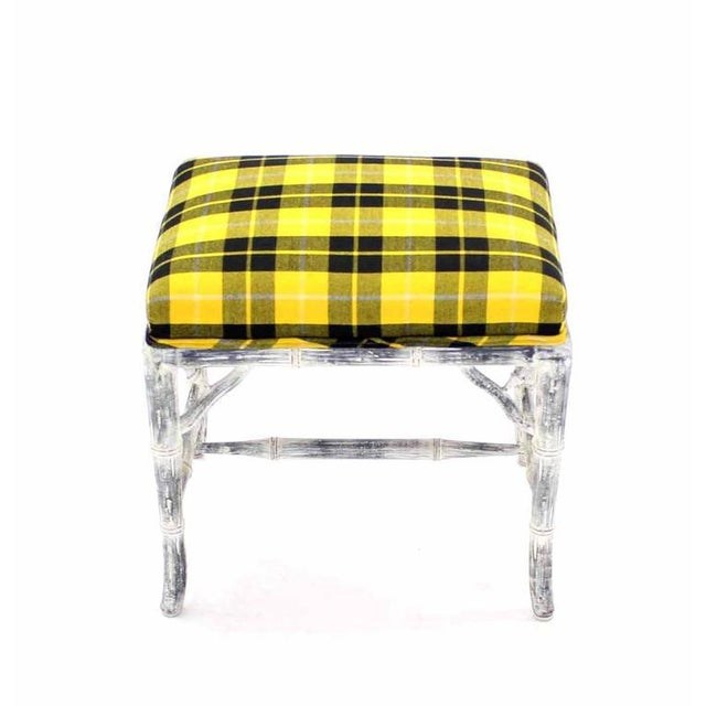 Textile Pair of Faux Bamboo White Wash Finish Yellow Black Plaid Upholstery Benches For Sale - Image 7 of 7