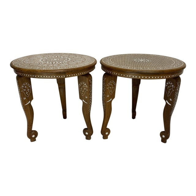 Anglo Indian Bone Inlay Side Tables - a Pair For Sale