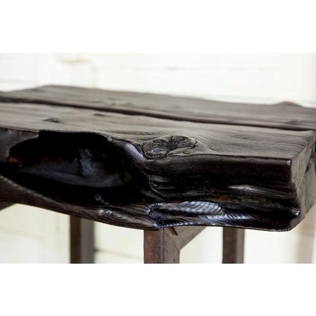 Asian Modern Yakisugi Wood and Metal Side End Table For Sale - Image 10 of 13