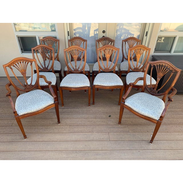 Hepplewhite Style Dining Chairs- Set of 10 For Sale - Image 13 of 13