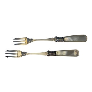 Mother of Pearl and Silver Pickle Forks - a Pair For Sale