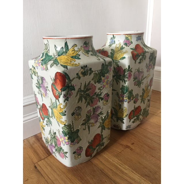 1970's Oriental Exotic Fruit Painted Vases - a Pair For Sale - Image 13 of 13
