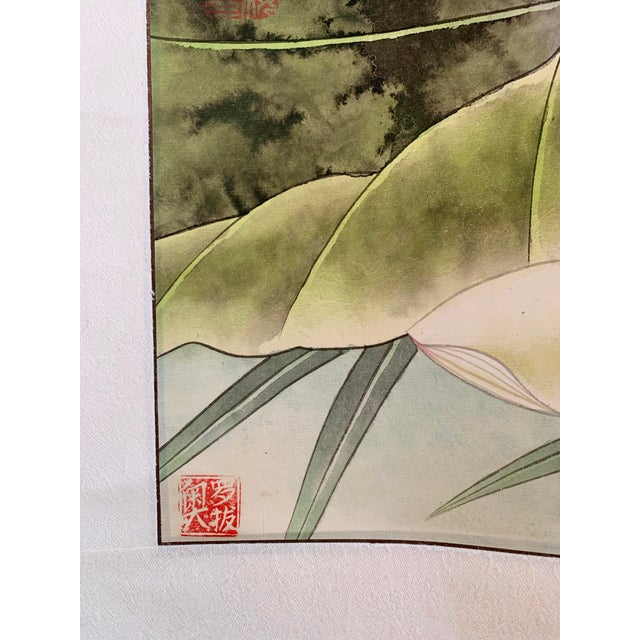 "1970s Vintage ""Two Bluebirds on a Lotus Pad"" Chinese Scroll Painting For Sale In Los Angeles - Image 6 of 8"