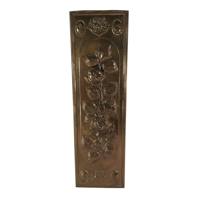Mid-Century Modern Brass Embossed Panel with Floral Design - Image 1 of 3