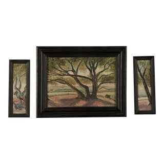 1900 Impressionist Landscape Tree Triptych Oil on Canvas Paintings - Set of 3 For Sale