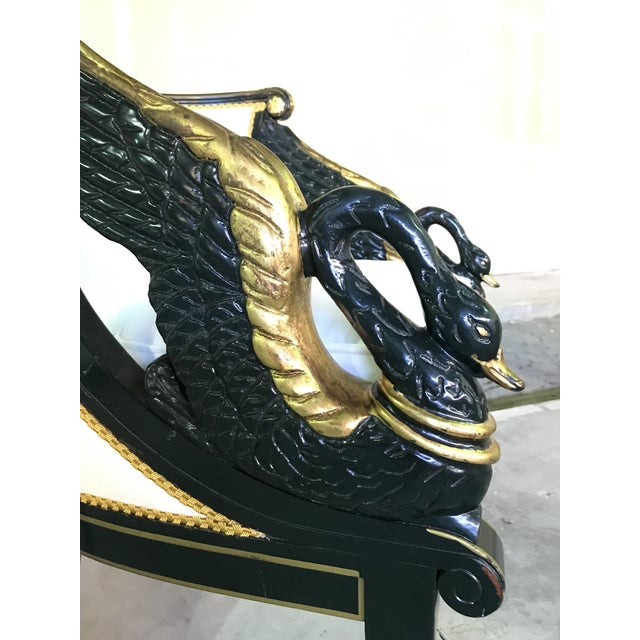 Metal Early 20th Century Gilt Mahogany Swan Chairs Attributed Charles Percier- a Pair For Sale - Image 7 of 13