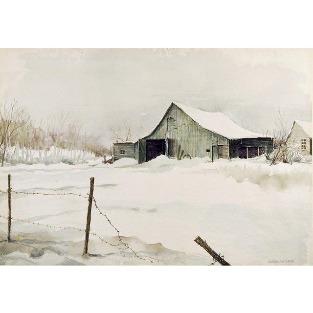 Barn in Winter by Gordon Morrison Watercolor Painting For Sale