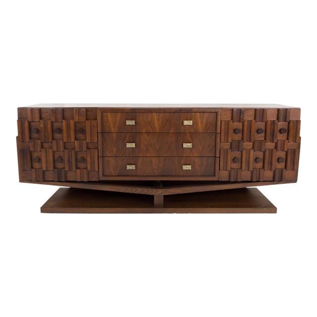 20th Century Brutalist Pedestal Lowboy Dresser For Sale