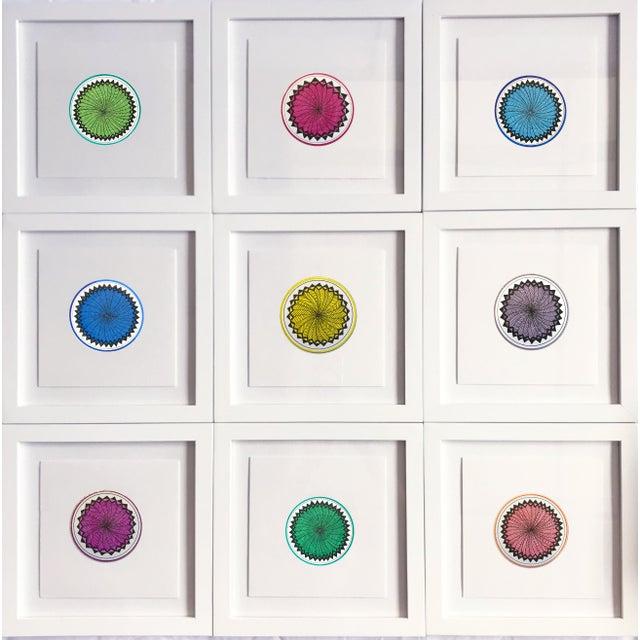 Blue Natasha Mistry Minimalist Geometric Ink Drawings - Set of 9 For Sale - Image 8 of 11