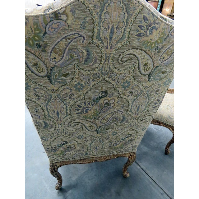 Brown Louis XV Style Tapestry Armchairs - a Pair For Sale - Image 8 of 12