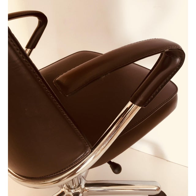 """""""Luna"""" Brown Leather Office Chair by Martino Perego for Fasem For Sale - Image 11 of 13"""