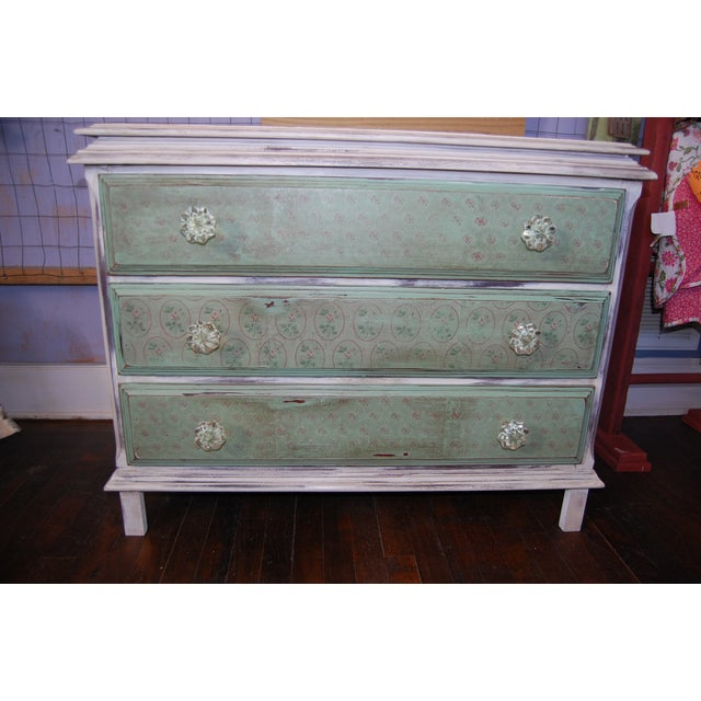 Vintage Shabby Chic Painted Green & White Dresser - Image 3 of 9