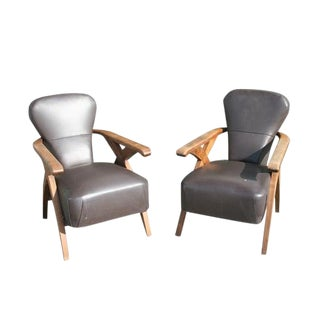Mid-Century Italian Oak & Leather Arm Chairs- A Pair For Sale