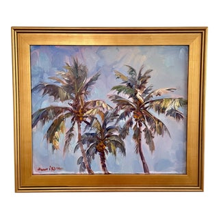 """""""Delray Coconuts"""" Contemporary Botanical Oil Painting by James P. Kerr, Framed For Sale"""