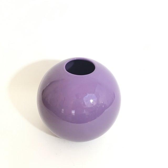 Ceramic Pino Spagnolo for Sicart 1970's Purple Globe Vase For Sale - Image 7 of 8