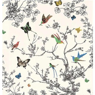 Schumacher Butterflies and Birds Wallpaper For Sale